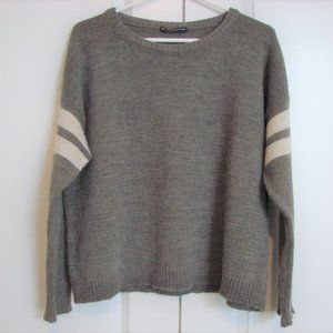 Brandy Melville Brown Cream Stripe Oversiz Sweater